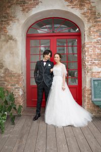 結婚式で新郎がレンタルするグリーンのタキシード20374