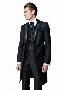 タキシード レンタル おしゃれ 黒 ブラック モーニングコート 結婚式