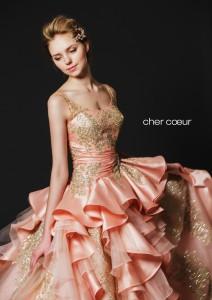 カラードレス ピーチ サーモン レンタル ウエディングドレス