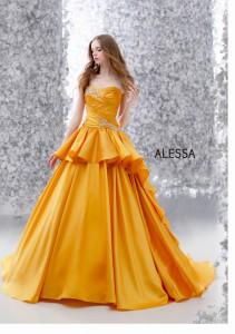 カラードレス イエローオレンジ レンタル ウエディングドレス