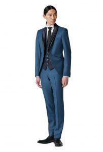 結婚式で新郎がレンタルするブルーのショートモーニングコート777