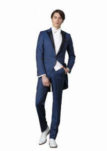 結婚式で新郎がレンタルする青いモーニングコート773
