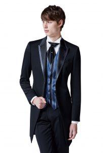 結婚式で新郎がレンタルするシンプルなフロックコート黒858