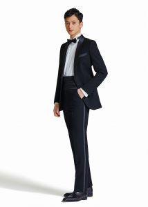 結婚式で新郎がレンタルするブラックタイタキシード20333